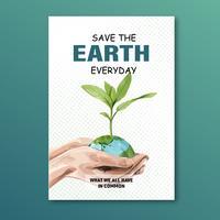 Erderwärmung und Umweltverschmutzung. Plakatfliegerbroschüren-Werbekampagne, speichern das Weltschablonendesign, kreatives Aquarellvektor-Illustrationsdesign vektor