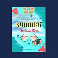 Resor på semester sommar stranden Palm tree semester affisch, hav och himmel sol, kreativ vattenfärg vektor illustration design