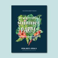 Sommaraffisch design semesterfest på stranden havet solsken natur. semester tid, kreativ vattenfärg vektor illustration design