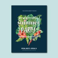 Sommerplakatdesign-Urlaubsparty auf der Strandseesonnenscheinnatur. Ferienzeit, kreatives Aquarellvektor-Illustrationsdesign