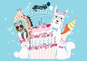 Grattis på födelsedagen Djur Vol 2 Vector