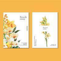 Vårt inbjudningskort med blommig lönn och löv. friskhet botanisk, tack kort, mors dag blomma akvarell vektor illustration design
