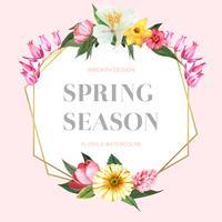 Vårkrona ramar färska blommor, inbjudningskort med blommig färgstark trädgård, bröllop, inbjudan, vattenfärg vektor illustration design