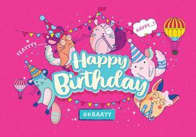 Grattis på födelsedagen Djur Vol 4 Vektor