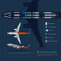 Set av flygplan landning med plats karta isolerad vektor illustration