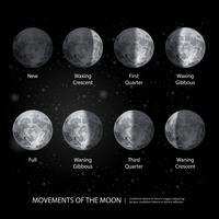 Bewegungen des Mondes phasen realistische Vektor-Illustration