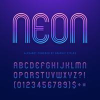 Streifen-Alphabet mit Neoneffekt-Vektor vektor