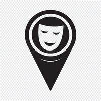 Kartenzeiger Theater Masken-Symbol vektor
