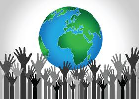 Hand, die Welt- und Kugelhandidee hält