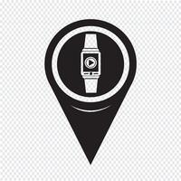 Kartpekare Smartwatch Slitbar ikon vektor