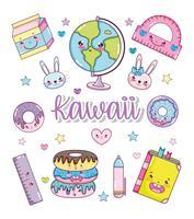 Sats med kawaii-tecknat vektor