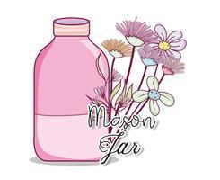 Einmachglas mit Blumen