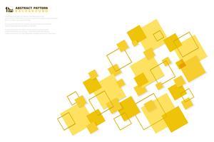 Abstraktes minimales gelbes Farbquadrat-Technologiepapier schnitt Musterdesignhintergrund. Abbildung Vektor eps10