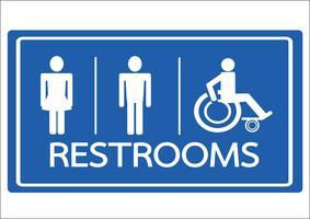 Toalett symbol manlig kvinna och rullstol handikapp ikon