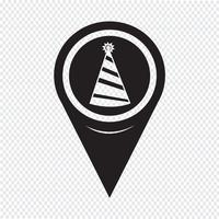 Map Pointer Party Hat Ikon