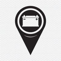 Kartenzeiger Autobatterie-Symbol vektor