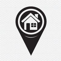 Map Pointer Home-ikon vektor