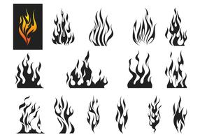 eld flammar vektor uppsättning