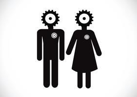 Piktogram Man kvinna tecken ikoner, toalett tecken eller toalett ikonen