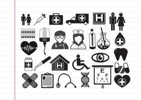 Medicinska ikoner symboltecken vektor