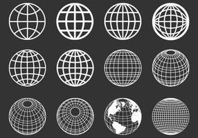 Umrissene Globen Sphären Vektor Set