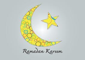 Ramadan Kareem Bunter Mond und Stern für den heiligen Monat der Muslime vektor