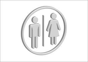 3D-piktogram Man Woman Sign-ikoner, toalettskylt eller toalettikon