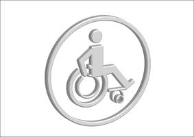 3D Rollstuhl Handicap Icon Design vektor