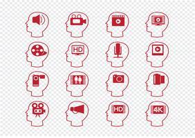 Tänkande huvuden och multimediaikoner för videofilmer