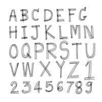 Handritad bokstavsteckensnitt skriven med en penna vektor