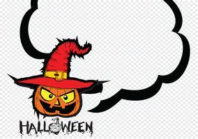 Halloween kort med pumpa och talande talbubbla vektor