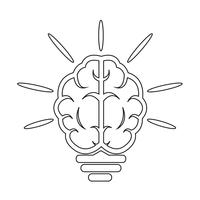 hjärna Glödlampa-ikonen vektor