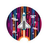Rakete auf den Weltraum