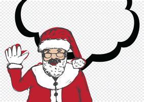 Jultomten för jul handritad och pratande pratbubbla