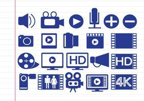 Videofilm-multimediaikoner vektor
