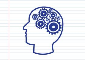 Mänskligt huvud och kugghjulidébegrepp