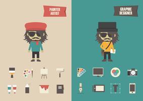 Retro und moderner Künstler