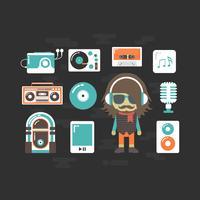 hiphop-DJ och musikinstrument vektor