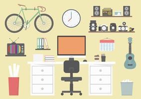 designerns utrustning på skrivbordet vektor