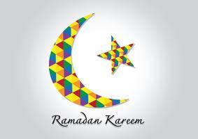 Ramadan Kareem Färgglad måne och stjärna för helig muslimmånad