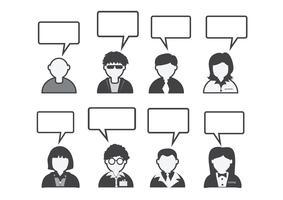 Leuteikone und -völker, die Spracheblase sprechen