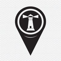 Kartenzeiger Leuchtturm-Symbol