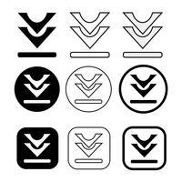 uppsättning enkel tecken nedladdning ikon vektor