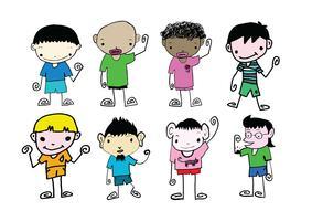 Uppsättning av söt man och unga pojkar tecknad