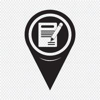 Kartenzeiger Bleistift-Symbol und Notebook-Symbol