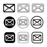 uppsättning enkla tecken e-postikonen e-postsymbol vektor