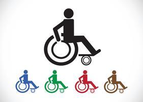 Rollstuhl-Handicap-Icon-Design vektor