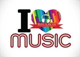 Jag älskar musik och musik är mitt liv typsnitt typsnitt med tecken idé design