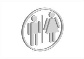 Mann-Frauen-Zeichenikonen des Piktogramm-3D, Toilettenzeichen oder Toilettenikone vektor