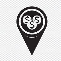 Pin Zeiger Geld Kartensymbol